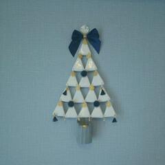 アイスの棒/キャンドルライト/アクセサリーパーツ/ハンドメイド/壁掛け/石粉粘土/... 長女2歳 次女生後4ヶ月 クリスマスツリ…
