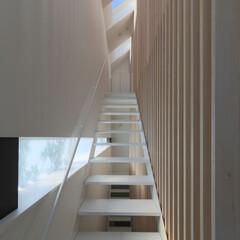 建築/住まい/建築デザイン/シンプル住宅/注文住宅 2階リビングへの階段 OUCHI-30
