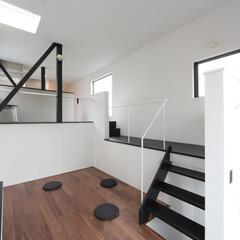 建築/住まい/建築デザイン/シンプル住宅/ハコノオウチ/狭小住宅 スキップフロアのリングダイニング  狭小…