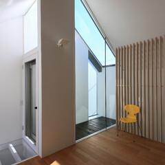 建築/住まい/建築デザイン/注文住宅/シンプル住宅 リビングのコーナーの小テラス 植物を飾り…