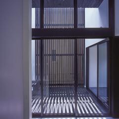 建築/住まい/建築デザイン/注文住宅/シンプル住宅 寝室から中庭を見る