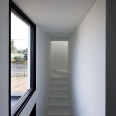 建築/住まい/建築デザイン/シンプル住宅/注文住宅 玄関から2階のリビングへの直通階段 OU…