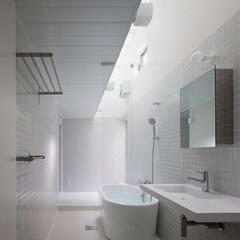 建築/住まい/建築デザイン/シンプル住宅/注文住宅 お施主様リクエストのワンルーム式のサニタ…