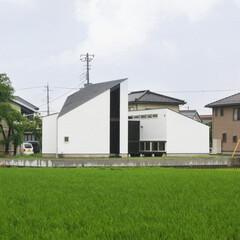 建築/住まい/建築デザイン/注文住宅/シンプル住宅/平屋/... 角度を変えて見るとこんな形のボリュームで…