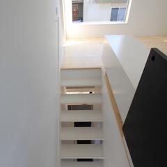 建築/住まい/建築デザイン/シンプル住宅/注文住宅 階段下に見えるのはホームオフィス。階段下…(1枚目)