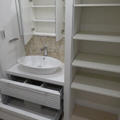 洗面所/リノベーション リノベーションで収納いっぱいの洗面所に