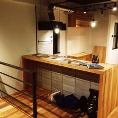 黒皮鉄/無垢フローリング/オーダーキッチン/オーク材カウンター/リフォーム/DIY