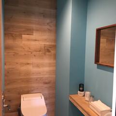 トイレ/天然木/板壁/オーク材/リノベーション/リフォーム/... トイレの背面壁をオーク材で板張りに‼︎ …