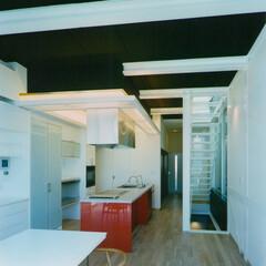 建築/建築家/建築デザイン/住まい/キッチン/アイランドキッチン/... リビングダイニングからキッチンを見る キ…(1枚目)