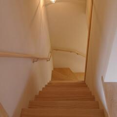 自然素材/木 2階リビングへつながる階段