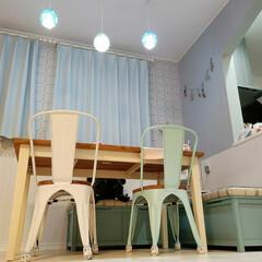 モザイクタイル/アーチ壁/アクセントクロス/mamの家具/フレンチカントリー/雑貨屋さんみたいなおうち/... 初投稿~夜のダイニング