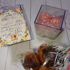 ホワイトデー/感謝💕/可愛いお手紙/ゼリー/豆腐ドーナツ/手作り/... 今日はホワイトデーでしたね❤️ 私には関…