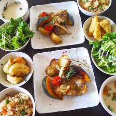 今日食べたもの 鶏肉と野菜のローズマリー焼き 筍の香草フ…