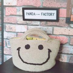 ニコちゃん/麻紐/ハンドメイド/Instagramも見てね/ig←Panda.factory/DIY 最近ハマって作ってるニコちゃんバック♥️…