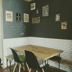 DIY/男前/カフェ風インテリア/黒板壁紙/壁紙/賃貸 賃貸だけど壁紙貼りました~❤カフェ風に近…
