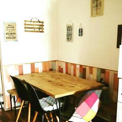 ダイニングテーブル/ベンチチェスト/ダイニングルーム/足場板/ハンドメイド 足場板で作ったダイニングテーブルです。ま…