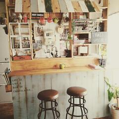 カフェ風インテリア/カフェ風/DIY/築30年/賃貸/カフェ/... なんにもない場所にカラーボックスで作った…