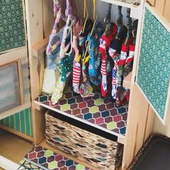 すのこ/DIY/雑貨/100均/セリア/ダイソー/... わんこ用の洋服収納棚を作りました。 本体…(2枚目)