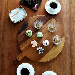 和菓子/珈琲タイム/家族の時間/おやつ/おやつ時間/カッティングボード/... 木製カッティングボードは、いろいろ使えま…