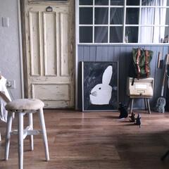 フロアタイル/ドア/diyドア/アンティーク風/IKEAのフレーム/IKEA/... ポスターを飾りました🐰