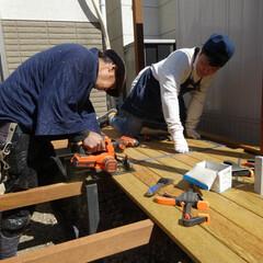 ウッドデッキ/DIY/リフォーム/土台/板張り/床/... お笑いコンビ、バッドバーイズの佐田正樹さ…