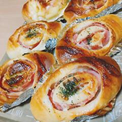 フード/グルメ/ハンドメイド/パン/手作りパン/手ごねパン/... ハムロール。久しぶりに、本域の手ごね。(…
