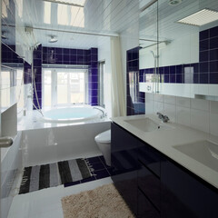 浴室 ミッドセンチュリーテイスト 居間がテラス…