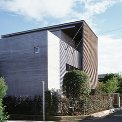 イぺ材ルーバー/杉化粧型枠コンクリート打ち放し/キンモクセイ ひばりが丘の家外観