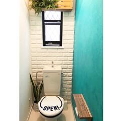 セルフペイント/りんご箱/山善/クッションレンガシート/トイレDIY/トイレ/... 一階の玄関横にあるトイレです(^^) リ…