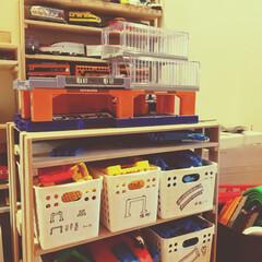 プラレール/おもちゃ収納/DIY/100均/セリア/収納 以前に載せたのは後方のプラレール車両収納…