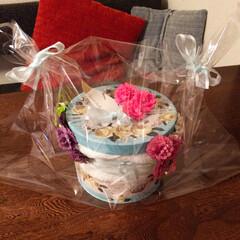 雑貨/100均/インテリア/おむつケーキ/花 おむつケーキを作ってみました!材料は、1…