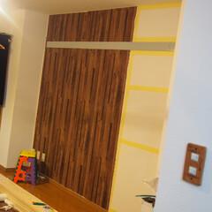 壁紙/賃貸/改造 賃貸なのでマステと両面テープで壁紙張り!