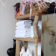 洗濯洗剤/タオル/シェルフ/流木DIY/流木 流木でDIYした、サニタリーシェルフ♬タ…