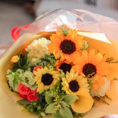 向日葵/花/花束 サプライズでプレゼントしていただいた、黄…