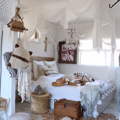 リゾートインテリア/リゾート/ボヘミアン/夏インテリア/DIY ボヘミアンな寝室。リゾートを意識して作り…
