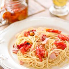 ペペロンチーノ/Zara home/ZARA/ZARAHOME/皿/グルメ/... 昨日作ったドライトマトのオイル漬けで、ペ…