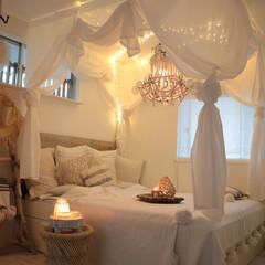 bedroom/IKEA/リゾートインテリア/天蓋/ベッドルーム/寝室 寝室ライトアップバージョン♪天蓋を付け、…