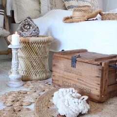 ポンポンサンダル/wood box/夏のインテリア/寝室/ジュートラグ/ファッション/... インドから取り寄せたジュートラグ♬インド…(1枚目)