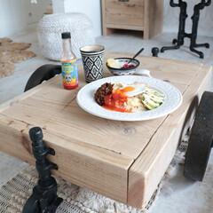 ローテーブル/トロリーテーブル/DIY/カフェ風インテリア/インダストリアル/ボヘミアンインテリア こんにちは♪トロリーテーブルでランチ♪ …