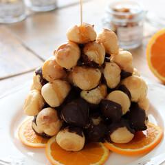 メープル/オレンジ/シュークリーム/クロッカンブッシュ クロッカンブッシュ♪ たまーにシュークリ…