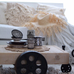 トロリーテーブル/陶器/セラミック/フェズ/モロッカン/モロッコ/... モロッコの民族食器達は大のお気に入り達。…