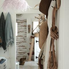 流木フック/流木/boho/ボヘミアン ボヘミアンベースの我が家。廊下には流木フ…