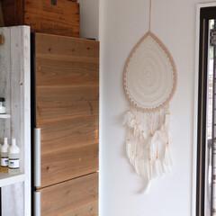 ボヘミアン/冷蔵庫/ドリームキャッチャー 冷蔵庫横に、マライカで購入したドリームキ…