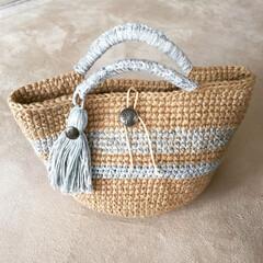 コットンデニム/麻紐バッグ/麻紐/DIY/100均/セリア/... 夏用に作ってみたよ! 夏は荷物が多いので…