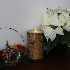 ハンドメイド/バスケットアレンジ/クリスマス/ルミナラキャンドル/雑貨だいすき 季節外れですがクリスマス時期の写真です。…