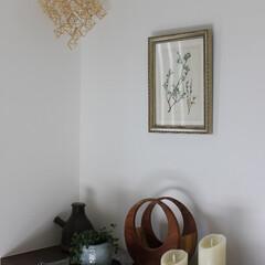 おうち自慢/玄関/ディスプレイ/木工作品/ルミナラキャンドル/ヒンメリ/... 現在の玄関ディスプレイです。 シンプルに…