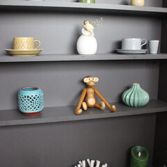 雑貨/器/骨董/北欧ヴィンテージ/キッチン/棚/... キッチンの飾り棚のディスプレイ。 日本の…