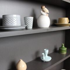 雑貨/多国籍/北欧ヴィンテージ/食器/器/花器/... キッチンの飾り棚の雑貨ディスプレイです。…