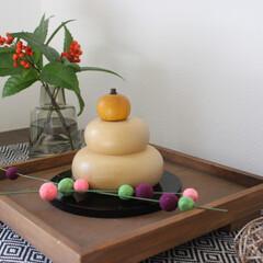 お正月飾り/玄関インテリア/玄関/木の鏡餅/鏡餅/お正月/... 玄関のお正月飾りです。 毎年お気に入りの…(1枚目)