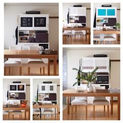 ダイニング/合板/季節/模様替え/DIY/リメイク/... キッチンボードのガラス扉に合板を貼って季…